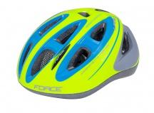 Přilba Force LARK fluo-modrá cyklistická helma dětská 48-54cm