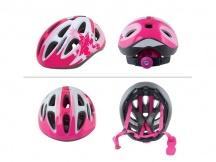 Přilba Force LARK růžová-bílá cyklistická helma dětská 48-54cm
